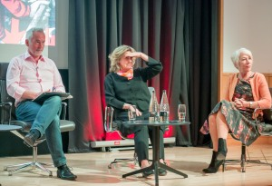 Martin Sixsmith, Katya Galitzine and Helen Mirren taking questions from the audience